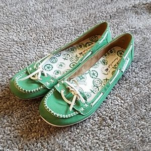 American Eagle green boat shoes size 10